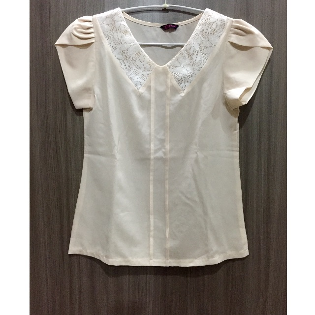 Cream Lace Collar Top - Lacey
