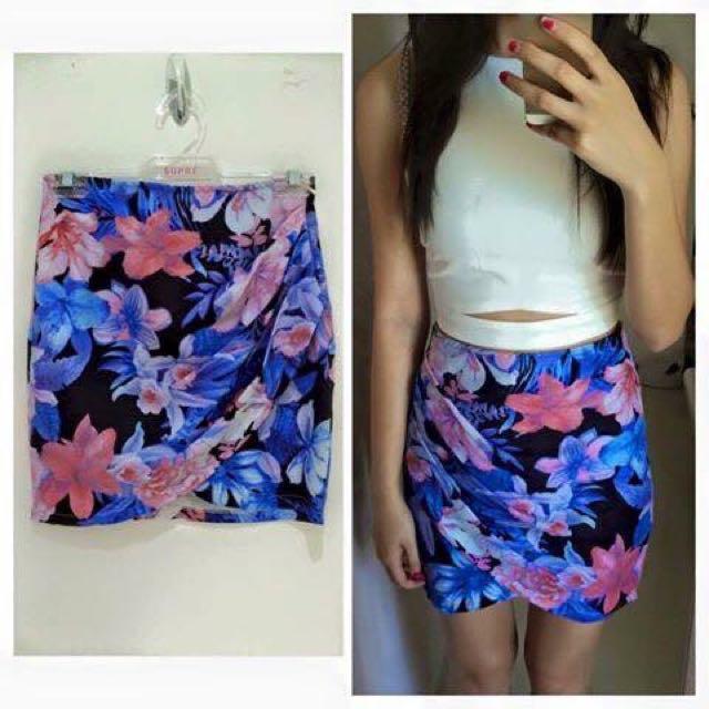 Draped Floral Skirt