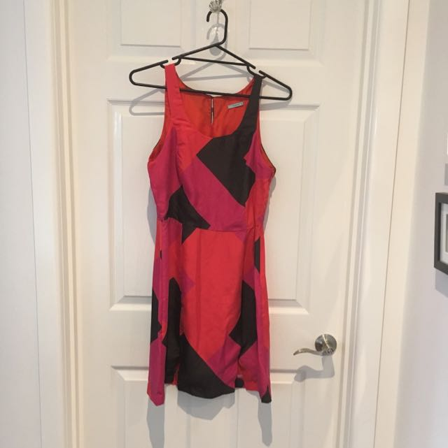 Kookai Size 40 Printed Silk Dress