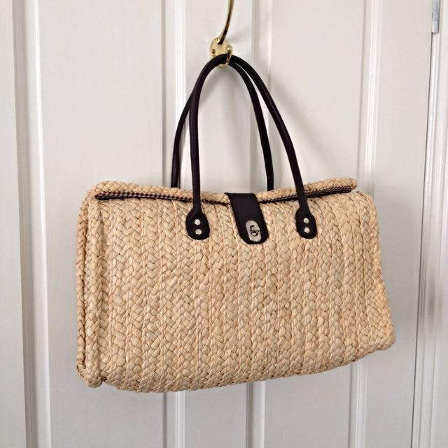 Large Vintage Cane Woven Carry Bag