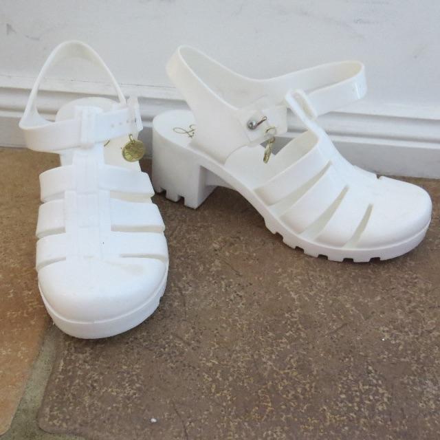 Lipstick white plastic heels