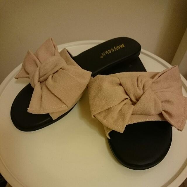 大蝴蝶結可愛拖鞋--made in Korea-杏色