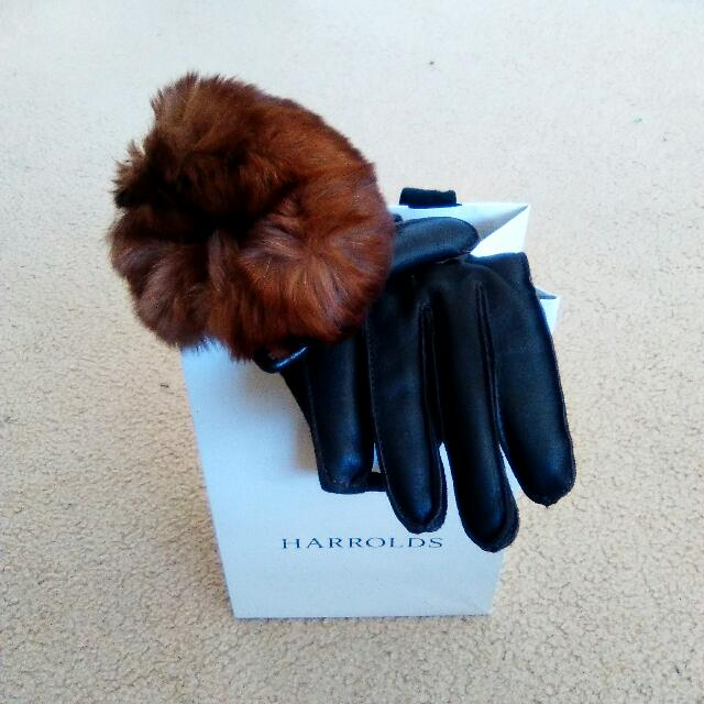 Mario Portolano : Handmade Nappa Leather Gloves w/ Rabbit Fur