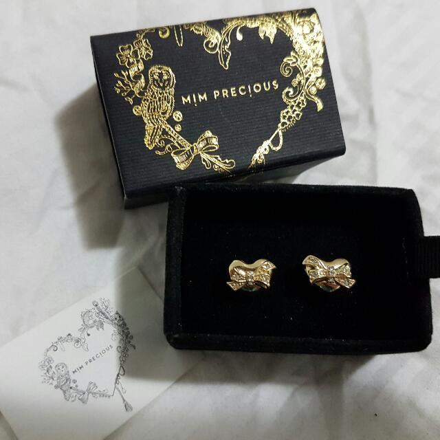 "Mimco ""Mim Precious"" Gold Stud Earrings"