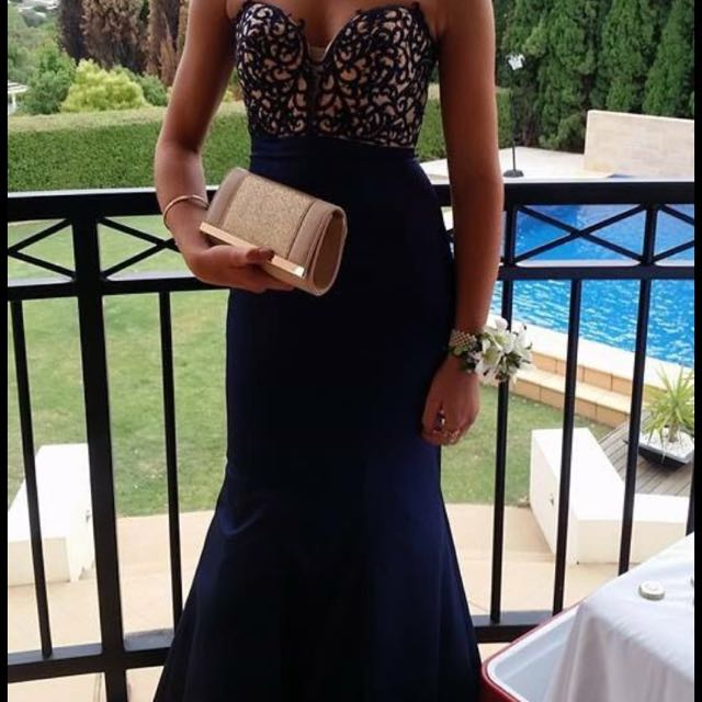 La Femme Navy Mermaid Formal Gown
