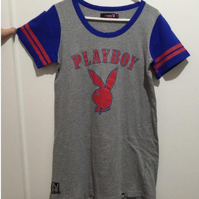 專櫃PLAY BOY棉質拼色運動風長版上衣