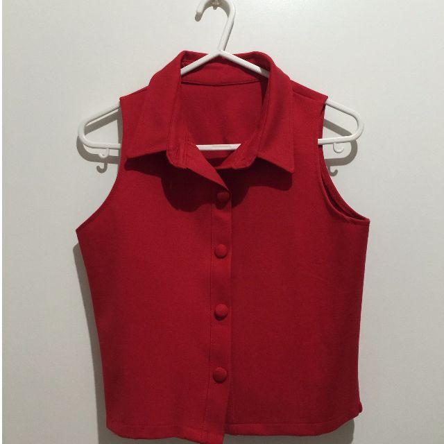 顯瘦厚挺棉質布料高質感短背心全新兩色S-紅