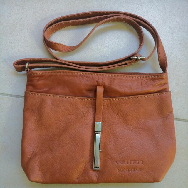 Vera Pelle Brown Leather Handbag