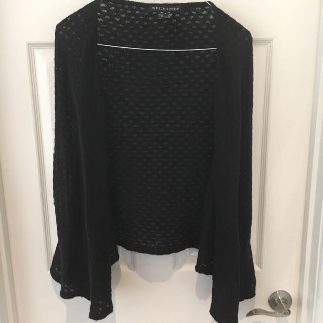 White Suede Batwing Black Knit