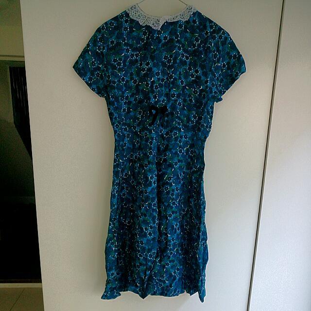 Women's Green & Blue Flowered Dress