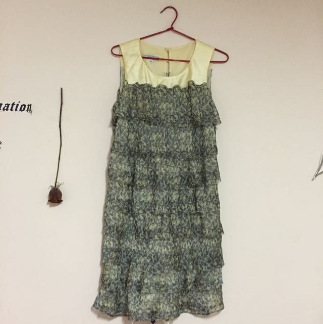 Yellow And Grey Dress Size 10