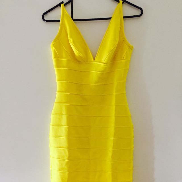 Yellow Bandage Dress XS