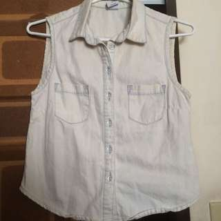Cream and Light-blue Washed Vero Moda Top