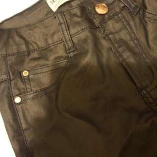 faux leather cotton on pants