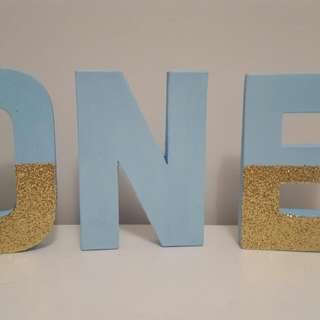Blue Glitter ONE Letter Sign First Birthday Boy