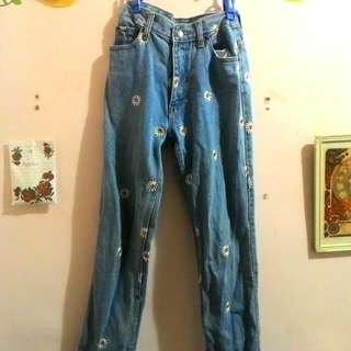 小雛菊刺繡高腰牛仔褲