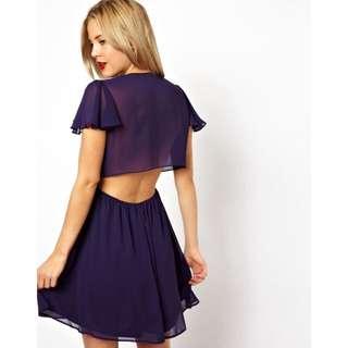 ASOS Open Back Wrap Dress In Purple