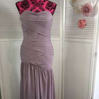 Strapless Long Formal Dress With Front Slit Size 6