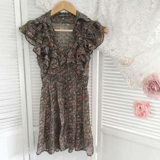 Friends Of Couture Floral Ruffle Dress Size S