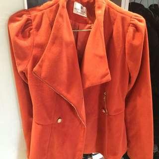 正韓全新橘紅短板外套