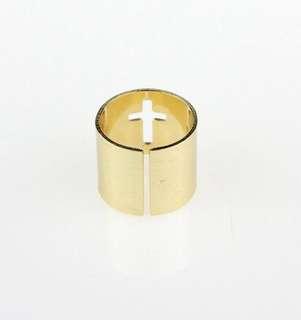 降!金屬拉絲十字架戒指