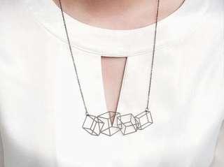 幾何四方塊項鍊|黑.銀