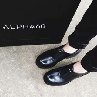 Alpha 60 Black Leather Derby Shoes
