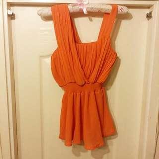 橙色雪紡上衣
