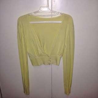 Yellow Crop Cardigan