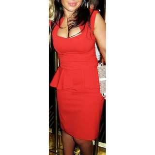 Size 6 Red Cue Dress - Bodice, Square Neckline