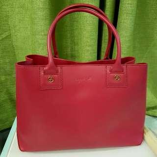 Agnes B Voyage Pink Leather Handbag