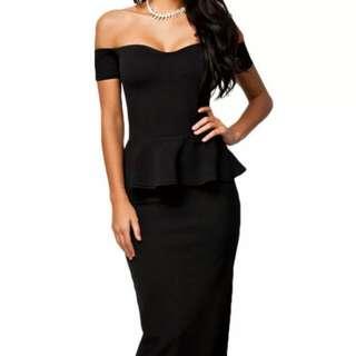 M 10/12 full Length Black Peplum Dress