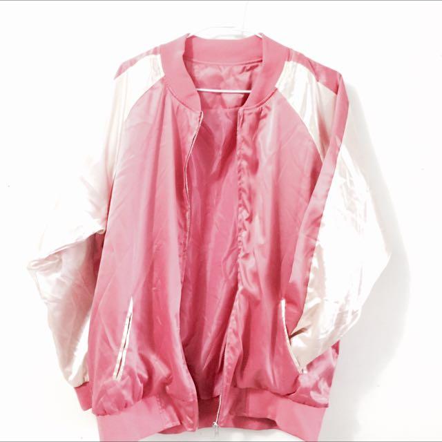 《全新》寬鬆個性素面橫須賀 緞面外套✨✨