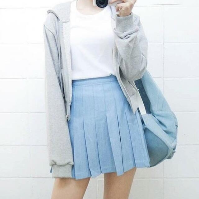 (全新)韓高腰百褶裙天藍色