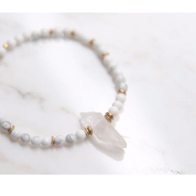 〔蛾室〕大理石水晶吊燈/ 天然石手鍊 / 白紋石、天然樸石水晶、純黃銅