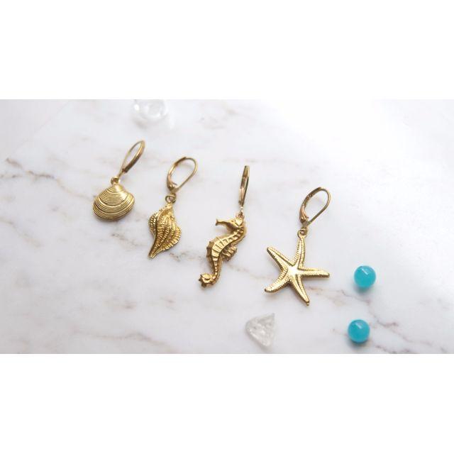 〔蛾室〕夏日耳環 任選兩枚 /海馬、貝殼、海星 / 全純黃銅