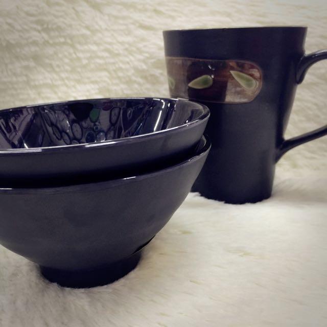 黑色日式飯碗 CF1002 黑色仿瓷(另售檀木系列箸)
