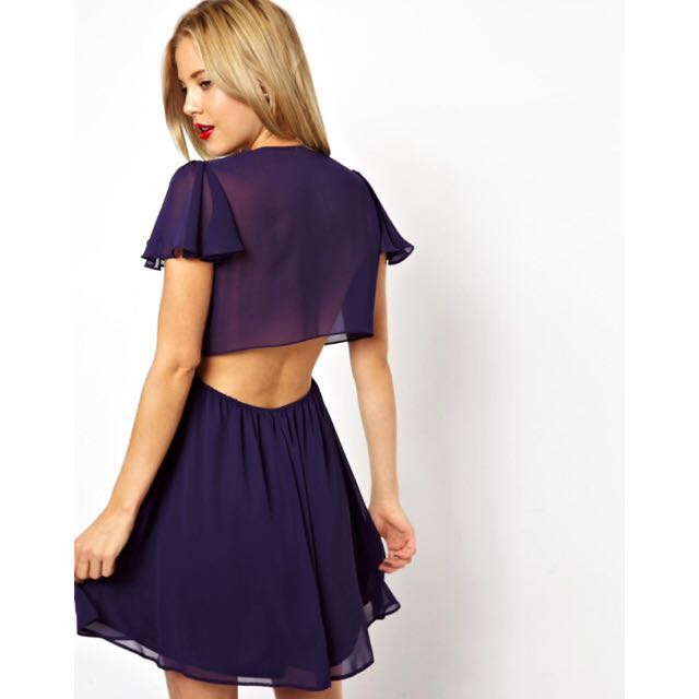 ASOS Open Back Wrap Dress In Purple