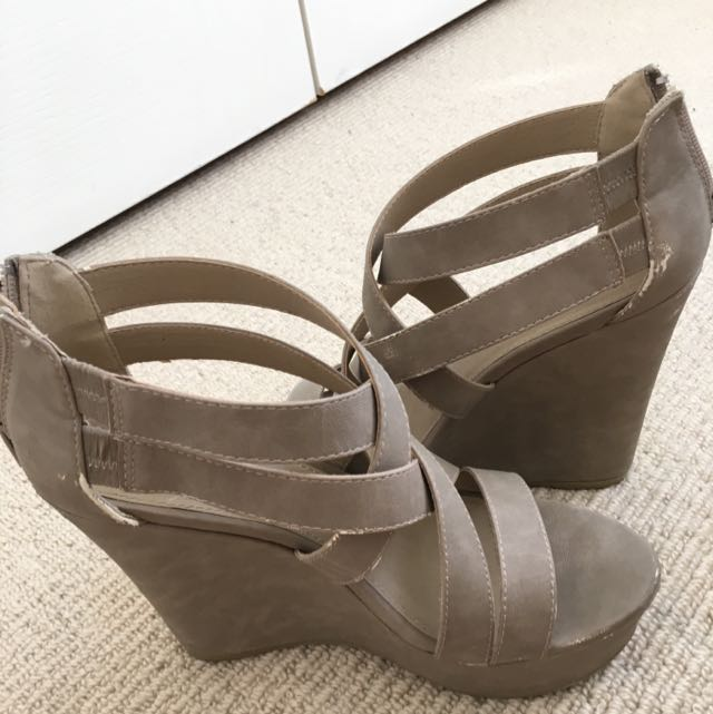 Beige Strappy Wedges
