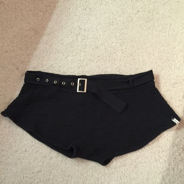 Black One Teaspoon Crotched Shorts