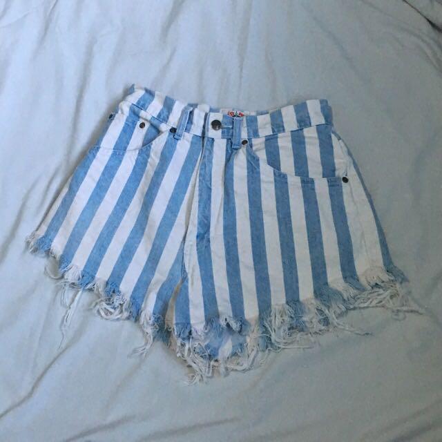 Blue Stripes HW Shorts