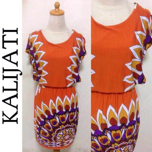 Dress Kalijati Motif Orange Abstract