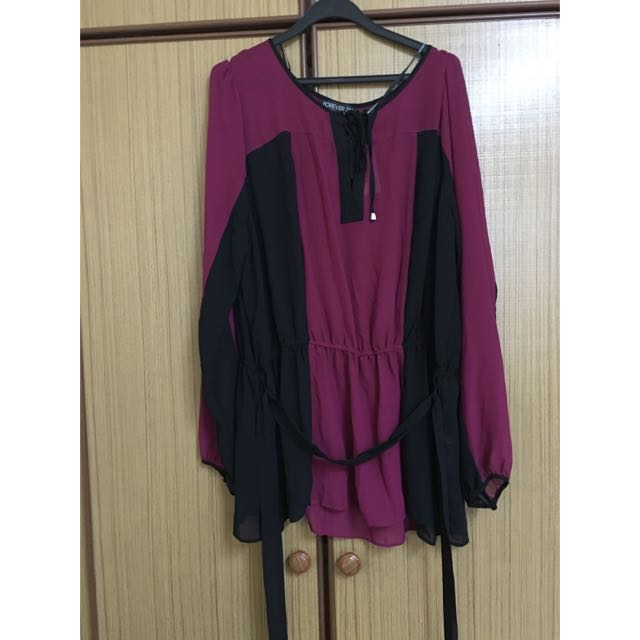 Forever 21 Woven Pink/black Long Sleeved Top