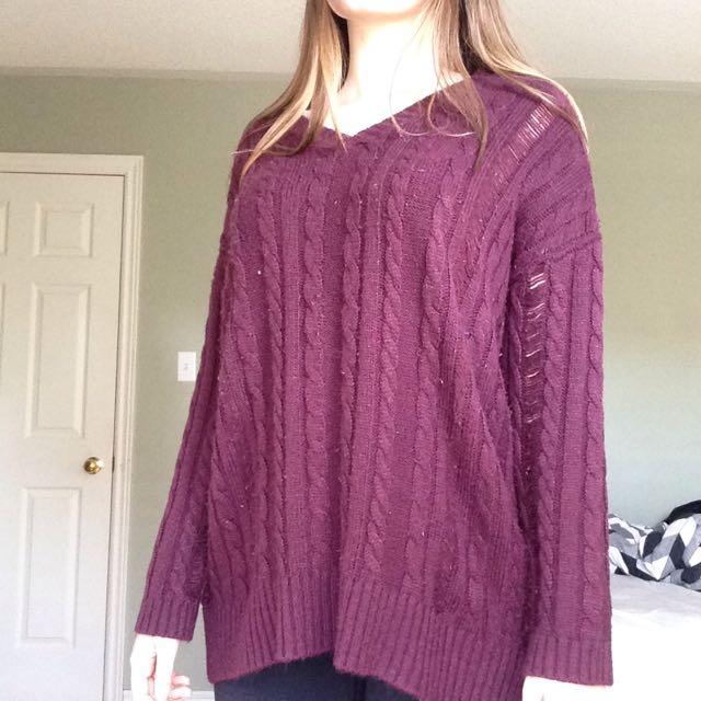 Garage Maroon Knitted Sweater