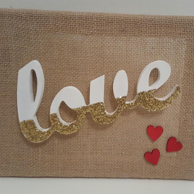 Handmade Burlap Canvas Glitter Love Sign Gift Homeware