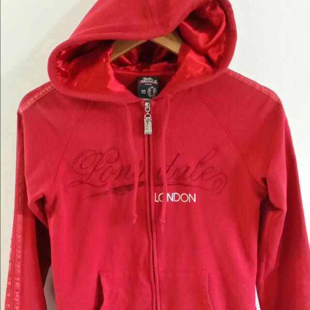 Lansdale Original Zip Up Silk Hooded Jacket Red. Medium