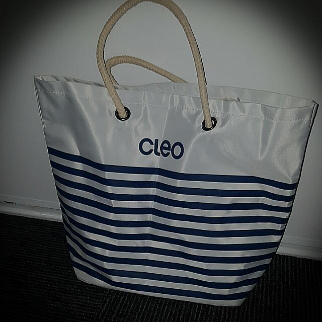 Large Cleo White Tote Bag