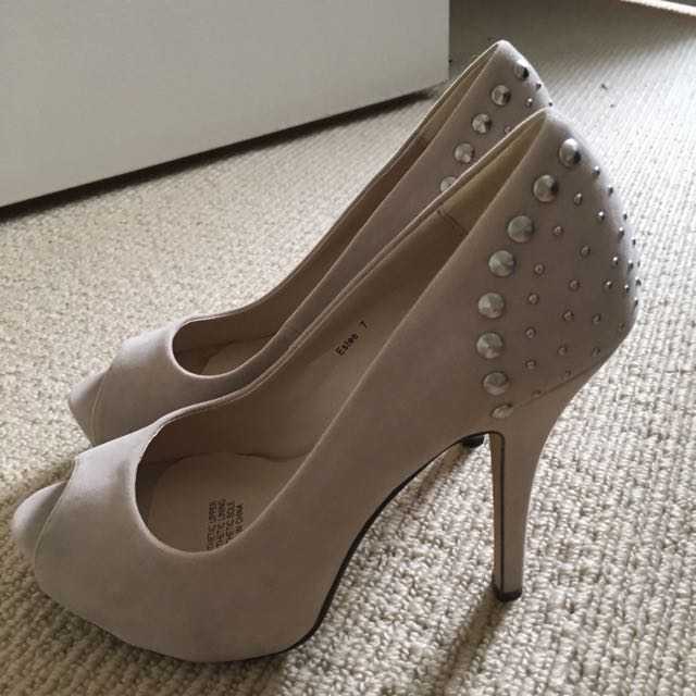 Platform Nude Studded Heels