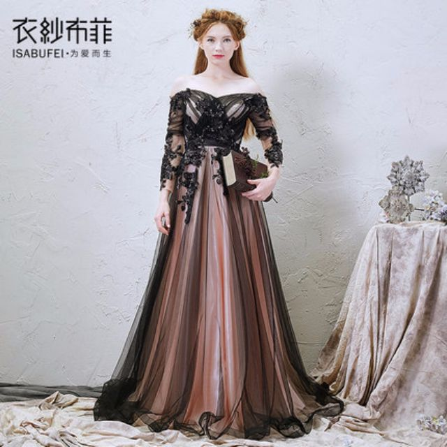 7ef9dfb5b26dd pre order black peach pink long sleeve off shoulder lace crochet ombre mesh  fishtail sexy elegant long puffy wedding bridal dress gown prom dinner  evening ...