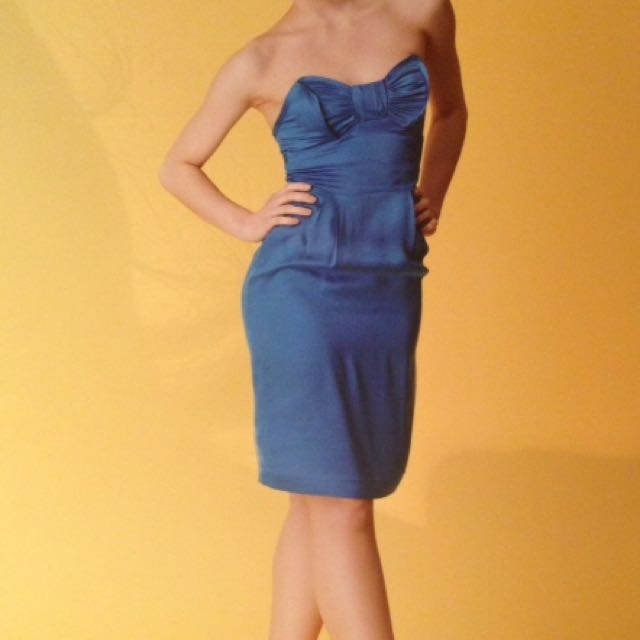 Seduce Silk Pencil Strapless Dress Size 6